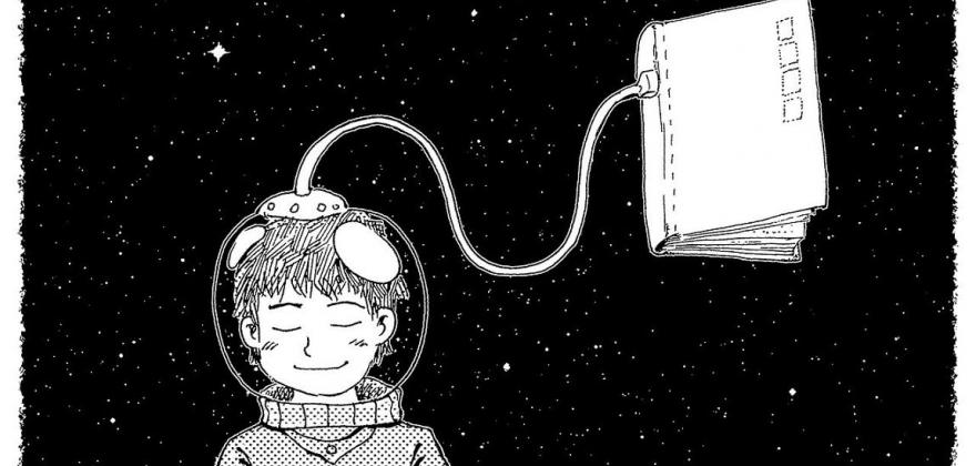 dessin d'un garçon avec un scaphandre relié à un livre par un tuyau