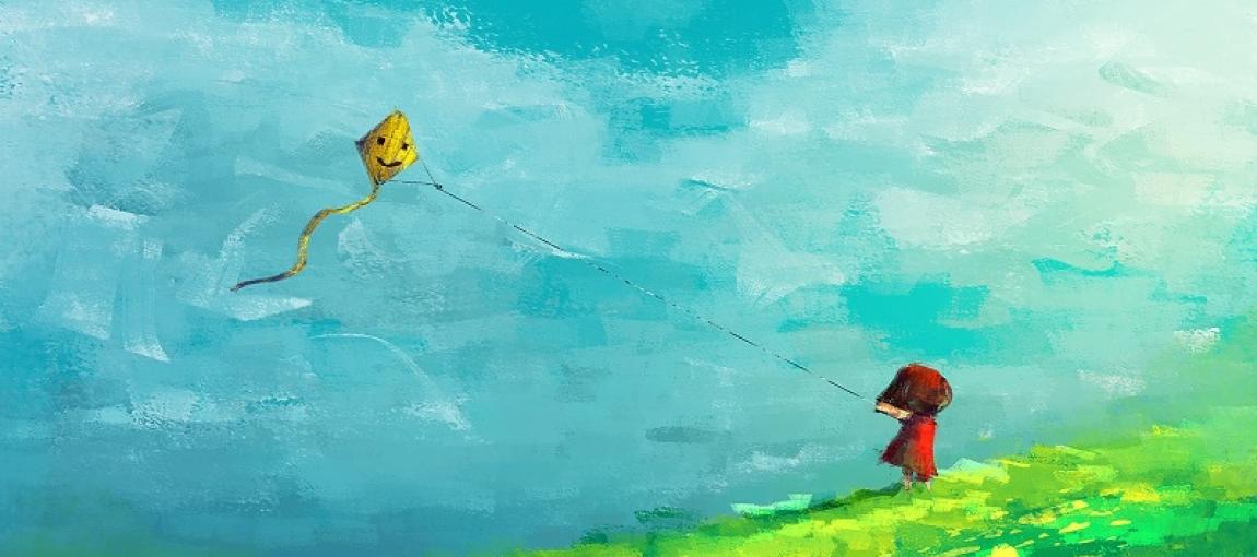 petite fille faisant voler un cerf-volant