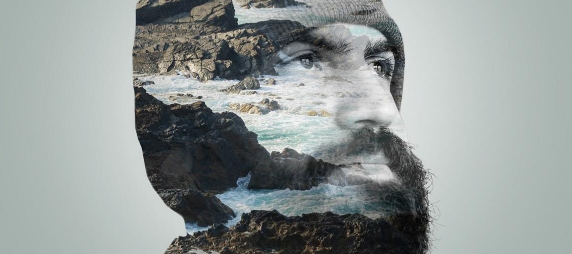 Visage d'un homme barbu, en surimpression la mer - Art du clip janvier