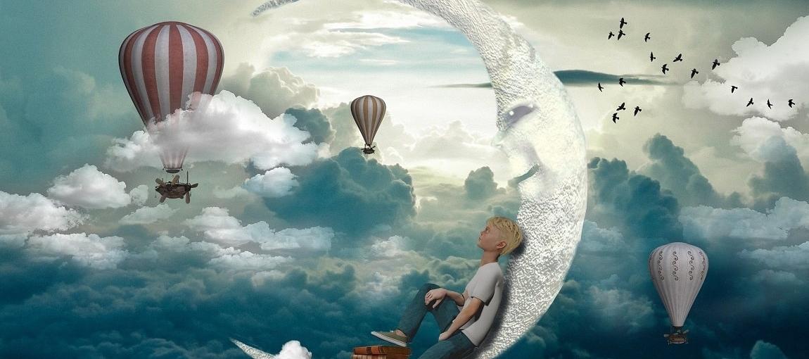 Image féérique où un enfant lit sur la lune