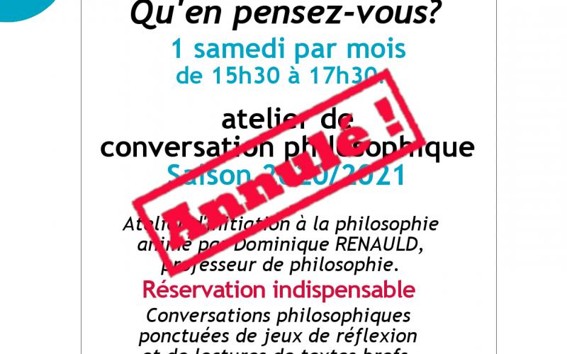 Affiche atelier philosophique. Création médiathèque Stendhal.