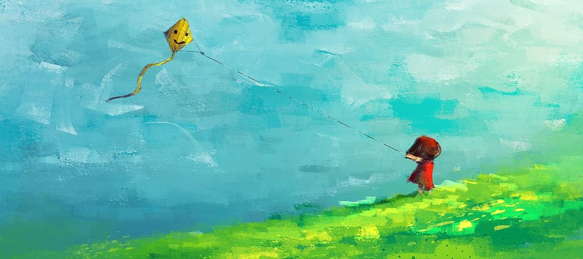 petite fille faisant volé un cerf-volant