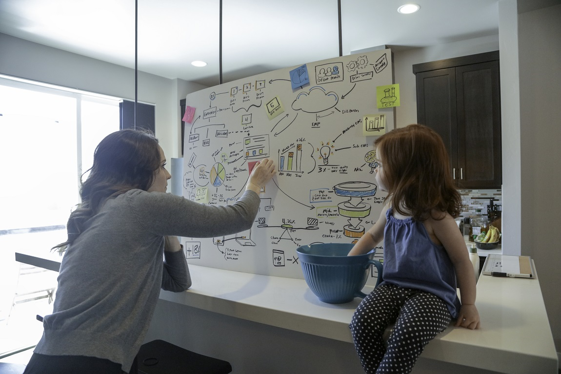 Femme travaillant à côté de sa petite fille