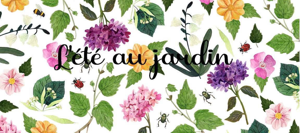motif fleurs et insectes