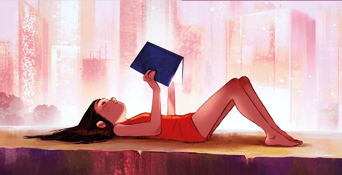 Jeune fille allo,gé sur le dos lisant un livre