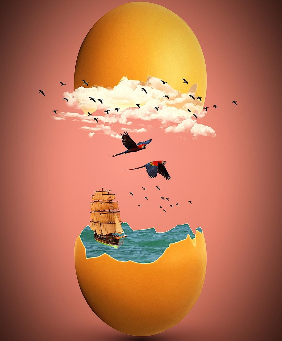 Illustration d'un oeuf s'ouvrant sur un paysage de haute mer version pirate