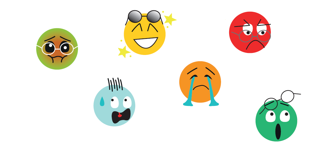 les 6 émotions humains en 6 émojis