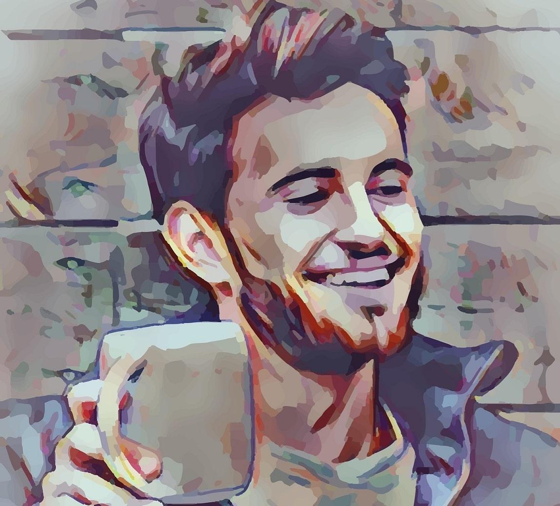 dessin d'un jeune homme avec un mug à la main