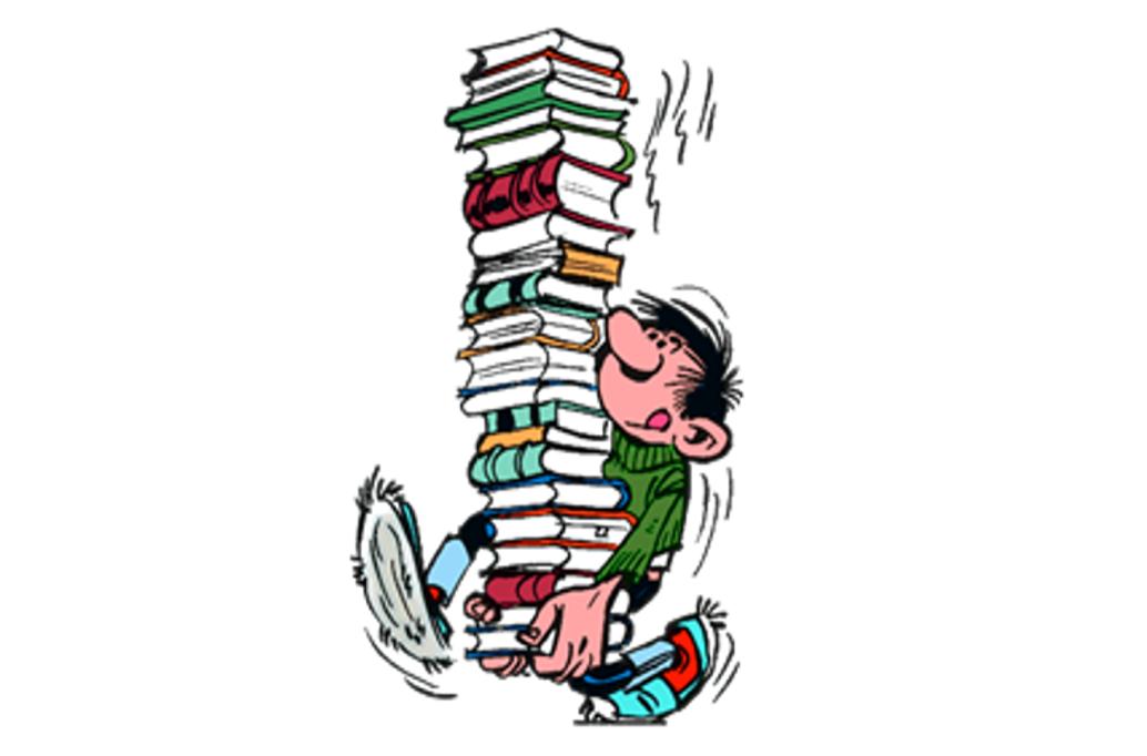 Lagaffe tenant une pile de livres