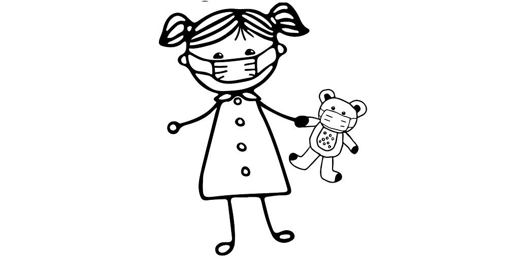 Petite fille avec un masque chirurgical à colorier