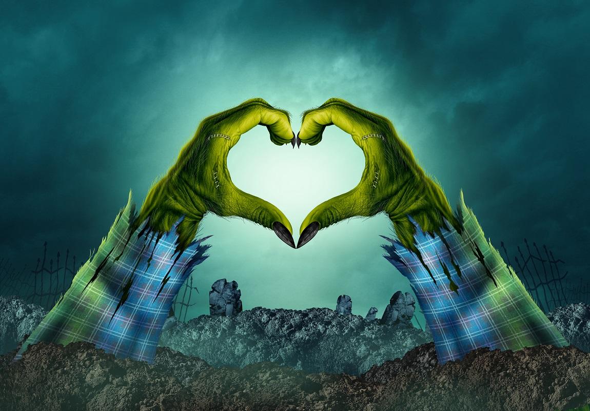 Main de zombie formant un coeur